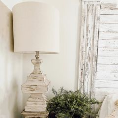 Distressed Table Lamp With Cylinder Shade