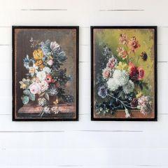 Classic Antique Style Floral Prints Set of 2