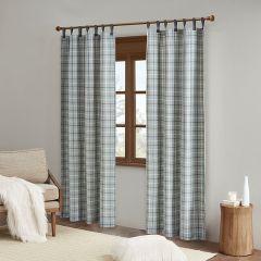 Fleece Lined Tab Top Plaid Curtain Panel Set of 2
