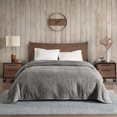 Cozy Berber Bed Blanket Grey
