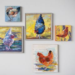 Hand Painted Chicken Canvas Print Set of 2