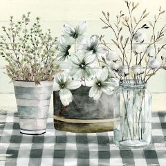 Country Florals Tablescape Canvas Wall Art