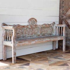 Aged Artisan Farmhouse Bench