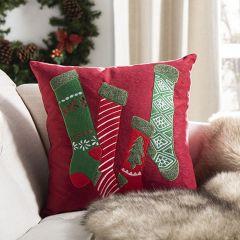 Christmas Stockings Applique Accent Pillow