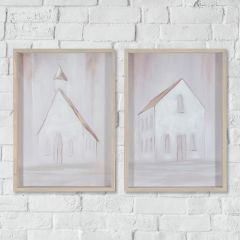 Simple Church and House Wall Art Set of 2