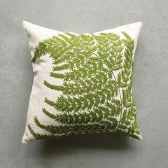 Throw Pillow With Fern Embroidery