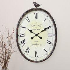 Metal Wall Clock With Bird Finial