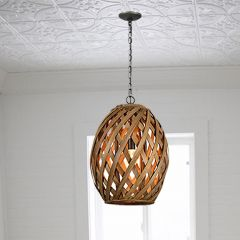 Basket Style Oval Pendant Light