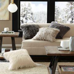 Modern Faux Fur Pillow Grey