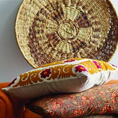 Suzani Pattern Embroidered Throw Pillow
