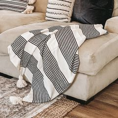 Throw Blanket With Stripes and Tassels