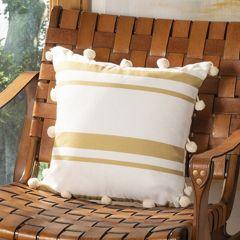 Striped Pom-Pom Tassel Pillow