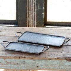 Galvanized Metal Serving Trays Set of 2