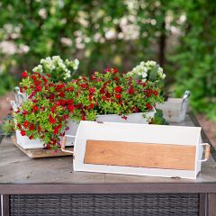 Metal With Wood Planters Set of 2