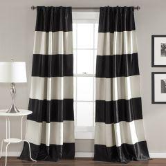 Wide Stripe Room Darkening Curtain Panel Set of 2