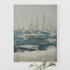 Hand Painted Ocean And Ships Canvas Wall Decor