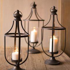 French Country Pedestal Lantern Set of 3