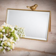 Lovely Double Sided Tabletop Mirror With Bird