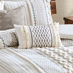 Embroidered Cotton Canvas Oblong Accent Pillow