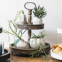 2 Tier Distressed Wood Tray