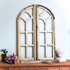 Arched Wooden Window Frame Set of 2