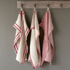 Country Striped Linen Dish Towel Set of 3