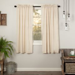 Simple Country Solid Short Curtain Panel Natural Set of 2