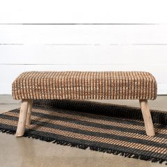 Recycled Leather Farmhouse Bench