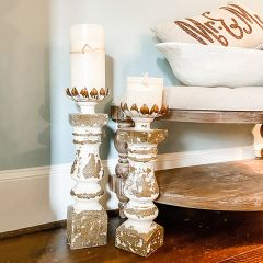 Antique Inspired Crown Candle Stands Set of 2