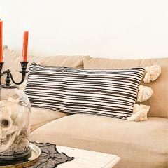 Striped Lumbar Pillow With Tassels