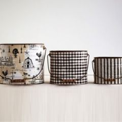 Vintage Style Tin Buckets Set of 3