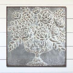 Embossed Metal Square Bouquet Art