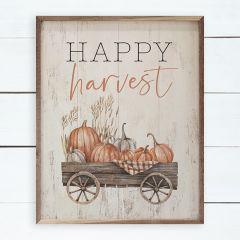 Happy Harvest Wagon Whitewash Framed Sign