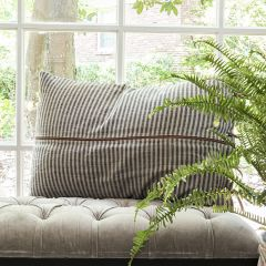 Striped Lumbar Pillow With Leather Trim