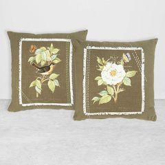 Appliqued and Embroidered Floral Accent Pillow Set of 2