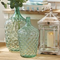 Textured Glass Jug Vase 18 Inch