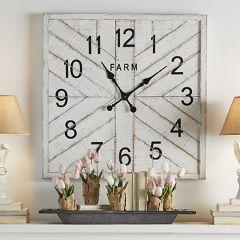 Square Fir Wood Wall Clock
