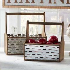 Rustic Metal and Wood Tool Box Caddy Set of 2