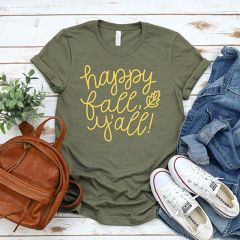 Happy Fall Y'all Olive Tee