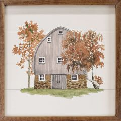 Watercolor White Barn in Early Autumn Wall Art