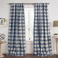 Indigo Buffalo Check Room Darkening Curtain Panel Set of 2 52x95