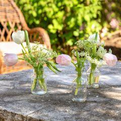 Etched Glass Vase Set of 3