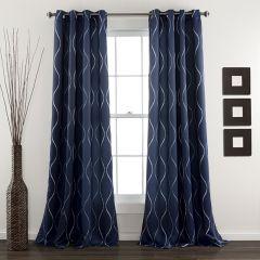 Swirl Pattern Room Darkening Curtain Panel Set of 2