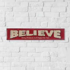 Embossed BELIEVE Holiday Sign