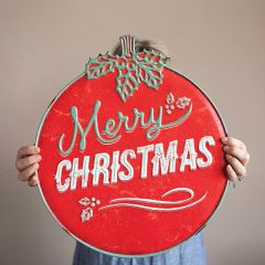 Embossed Merry Christmas Ornament Wall Sign