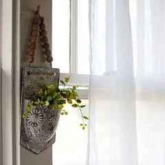 Embossed Metal Floral Wall Pocket Set of 2