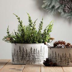 Embossed Pine Handled Metal Bucket Set of 3