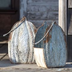 Embossed Pumpkin Metal Buckets, Set of 2