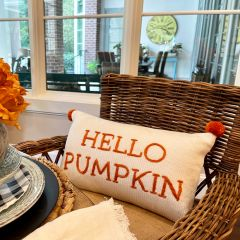 Embroidered Hello Pumpkin Pillow With Pom Poms