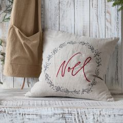 Embroidered Noel Holiday Accent Pillow